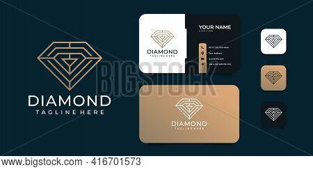 Creative Feminine Diamond Gems Golden Logo Design Template. Logo Can Be Used For Icon, Brand, Identi