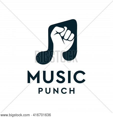 Music Note With Punch Arm Logo Design Vector Concept. Logo Can Be Used For Icon, Brand, Identity, An