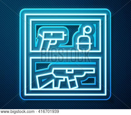 Glowing Neon Line Hunting Shop With Rifle And Gun Weapon Icon Isolated On Blue Background. Supermark