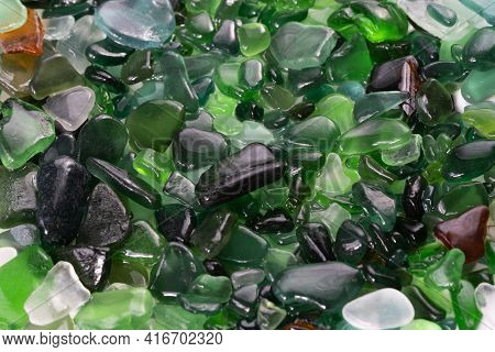 Summer Background From Sea Glass Top View. Broken Glass From The Ocean. Sea Glass Pattern. Oceanic M