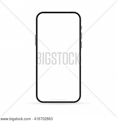 Realistic Smartphone Screen Mockup. Phone Frame With Blank Display Isolated Templates. Mobile Device