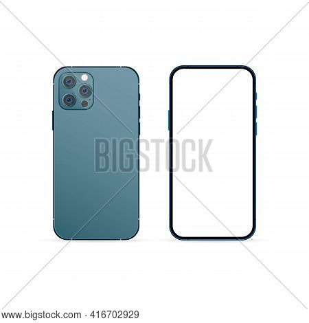 Mockup Smartphones. Realistic Smartphone Mockup With Modern Display. Phone Icon. Cellphone Frame Wit