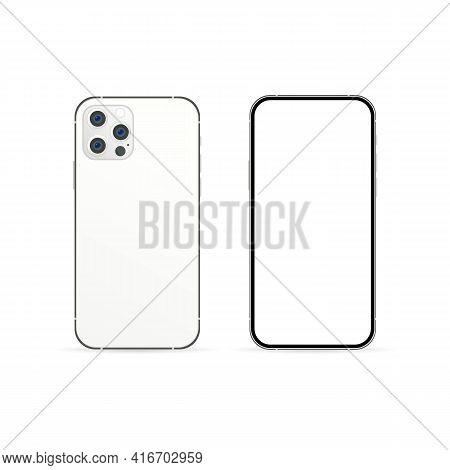 Smartphone Mockup With Modern Display. Phone Icon. Smartphone Logo. Cellphone Frame With Modern Disp