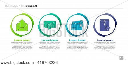 Set Outgoing Mail, Envelope With Star, Envelope And Envelope. Business Infographic Template. Vector