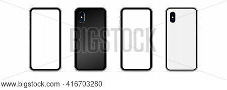 Smartphone Mockups. Mobile Phone Display, Device Screen Frame And Black Smartphones. Cellphone Frame