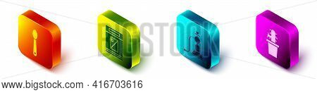 Set Isometric Heroin In A Spoon, Cigarettes Pack Box, Hookah And Cactus Peyote In Pot Icon. Vector