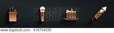 Set Mulled Wine, Karaoke Microphone, Cake And Firework Rocket Icon With Long Shadow. Vector