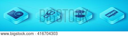Set Isometric Cd Or Dvd Disk, 3d Cinema Glasses, Screen Tv With Smart Video And Cd Or Dvd Disk Icon.