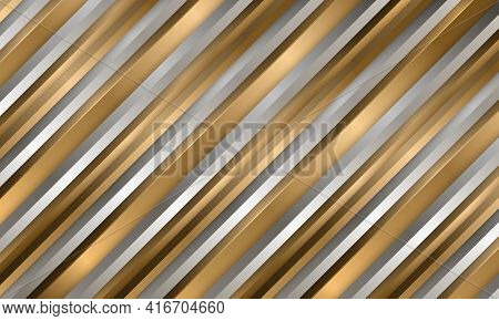 Abstract Luxury Gold And Silver Striped 3d Vector Background With Metallic Three Dimensional Shapes.
