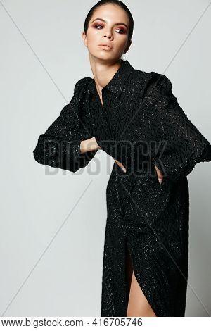 Brunette Side Glance Black Dress Glamor Fashion