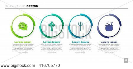 Set Pumpkin, Tombstone With Cross, Neptune Trident And Halloween Witch Cauldron. Business Infographi