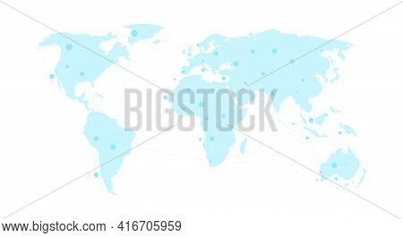 Vector World Map On White Background. World Map Template With Continents. Flat Earth, Blue Map Templ