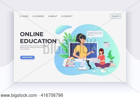 Student Studuing At Home With Laptop, Courses And Lector. E-learning And Home Education. Online Webi