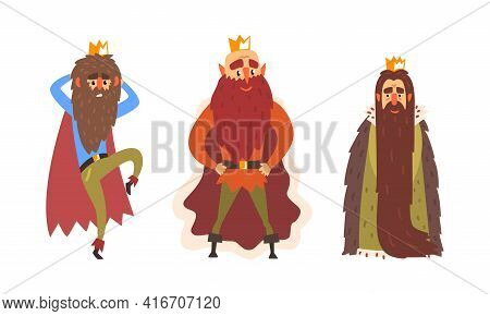 Funny Bearded King Characters Set, Emperor In Golden Crown And Mante Cartoon Vector Illustration
