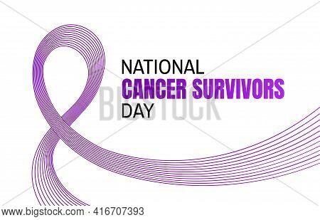 National Cancer Survivors Day Baner. Purple Ribbon, Cancer Awareness Symbol Background.