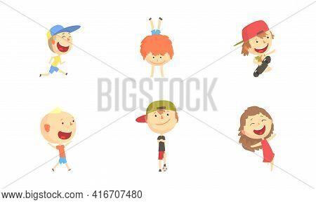 Kids Outdoor Activities Set, Cute Boys And Girls Jumping, Doing Handstand, Playing Ball, Having Fun