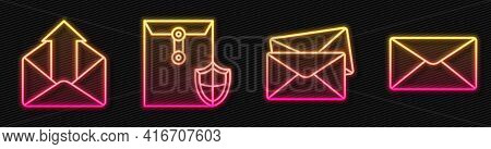 Set Line Envelope, Outgoing Mail, Envelope With Shield And Envelope. Glowing Neon Icon. Vector