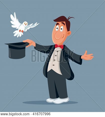 Funny Magician And White Pigeon Flying Out The Hat