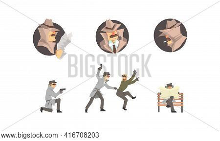 Private Detective Characters At Work Set. Police Inspector Investigating Crime, Chasing And Arrested