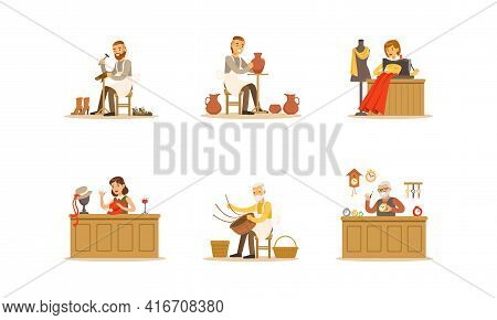 People Of Creative Professions Set, Potter, Seamstress, Hat Designer, Watchmaker Cartoon Vector Illu
