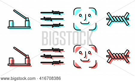 Set Line Face Recognition, Parking Car Barrier, Barbed Wire And Barbed Wire Icon. Vector