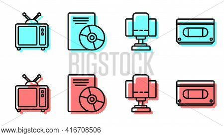 Set Line Director Movie Chair, Retro Tv, Cd Or Dvd Disk And Vhs Video Cassette Tape Icon. Vector