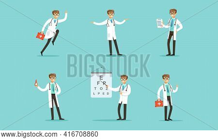 Male Medical Doctor Activity Set, Cheerful Therapist, Paramedic, Physician Character In White Coat V