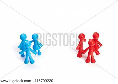 . Toy People Are Divided Into Two Groups. Political Process, Democratic Elections. The Difference In