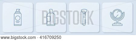 Set Line Spray Can For Hairspray, Makeup Brush, Bottle Of Shampoo And Round Makeup Mirror. White Squ