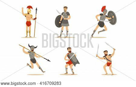 Ancient Warriors Set, Greek, Roman And Spartan Soldiers In Armor Cartoon Vector Illustration