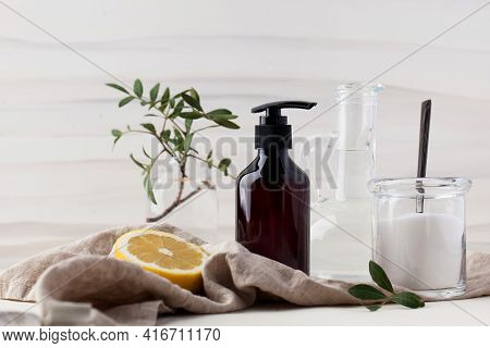 Eco-friendly Natural Cleaning Products Such As Soda, Lemon, Vinegar. The Concept Of Zero Waste.