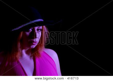 Fashion Shot With Extreme Lighting And Pink Gel