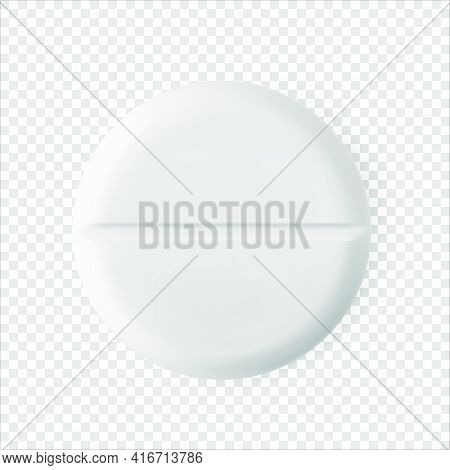 Round White Pill Realistic 3d Vector Illustration. Universal Tablet Closeup Isolated Medicament. Hea