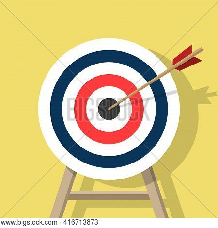 Target With An Arrow, Standing On A Tripod. Archery Or Business Goal Concept. Vector Illustration