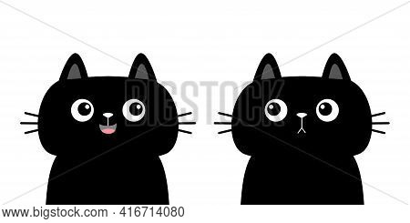 Black Cat Kitten Kitty Silhouette Icon Set. Cute Kawaii Cartoon Character. Sad Happy Face. Happy Val