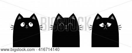 Cat Set Line Banner. Sad Happy Sleeping Black Kitten Face Head. Funny Cute Kawaii Cartoon Baby Chara
