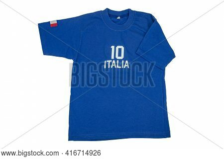 Blue T-shirt For Kids. Soccer Or Polo Shirt With The Inscription Italia And The Number Ten Isolated