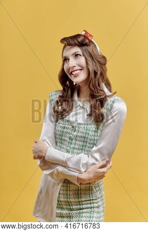Happy Young Beautiful Brunette Woman With Wavy Hair, Bow On Her Head.
