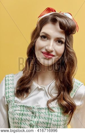 Portrait Of A Beautiful Young Woman With Bright Makeup With Red Lipstick.