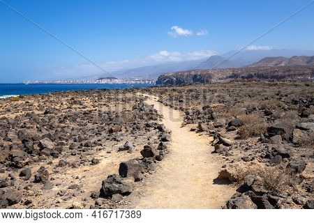 Trekking Path At South Of Tenerife View To Ocean