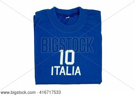 Blue T-shirt For Kids. Folded Soccer Or Polo Shirt With The Inscription Italia And The Number Ten Is