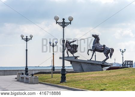 Novorossiysk, Russia - March 3, 2021: Panoramic View Of The Pedestrian Embankment In Novorossiysk In