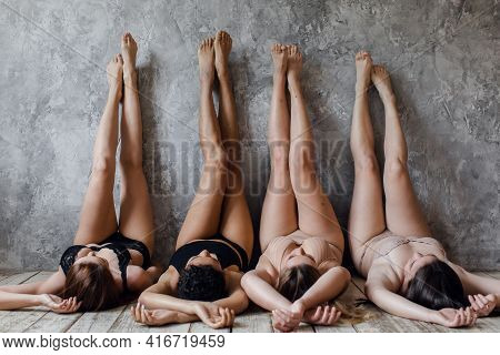 Body Positivity Concept. Group Of Women With Confidence And Body Positivity