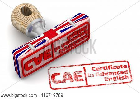 Cae. Certificate In Advanced English. The Stamp And An Imprint. Rubber Stamp In Colors Of The Uk Fla