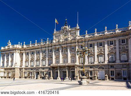 Madrid, Spain  - 14 May 2017: Beautiful View Of The South Facade Of The Royal Palace. Palacio De Ori