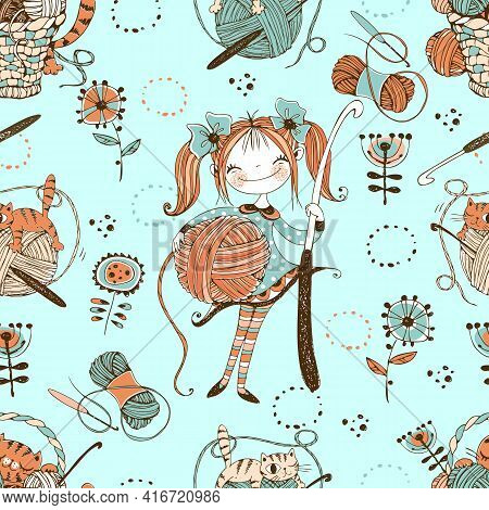 Seamless Pattern On The Crochet Theme. Cute Needlewoman With A Crochet Hook. Vector