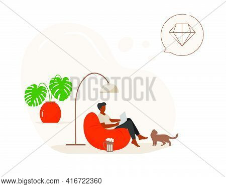 Vector Illustration Man Using Tablet, Laptop For Playing Online Game. Relaxing At Home Lifestyle Con