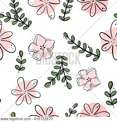 Floral Pattern. Solid Pattern With Flowers, Leaves And Branches. Simple Floral Background For Packag