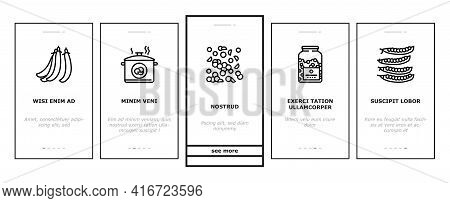 Peas Beans Vegetable Onboarding Mobile App Page Screen Vector. Peas Agricultural Plant And Flower, B