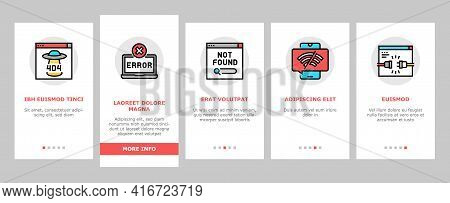 Not Found Web Page Onboarding Mobile App Page Screen Vector. 404 Error And Not Found Internet Site,